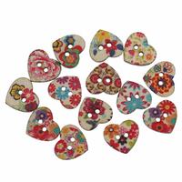 8 jolis boutons de couture en bois forme coeur motif fleuri nature, 24x22mm