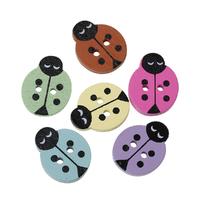 10 jolis boutons de couture en bois forme coccinelle, couleurs en mélange, 18x14mm