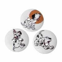 14 jolis boutons de couture en bois forme ronde, motifs chiens dalmatiens, 15mm