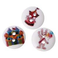 14 jolis boutons de couture en bois forme ronde, motifs manège, chateau, contes enfants, 15mm