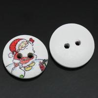 15 jolis boutons de couture en bois forme ronde, motifs père noël, 15mm