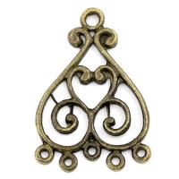 Lot de 4 Connecteurs de bijoux forme cœur creux avec 6 trous Bronze antique,33x23mm