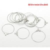 Lot de 10 anneaux créoles métal argenté pour boucles d'oreilles 29x26mm
