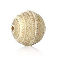 Lot de 10 perles 12mm en acrylique  blanc et dessin  doré