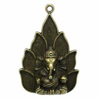 1 pendentif  Ganesh, symbole éléphant bouddhiste, bouddha en métal coloris bronze  53x36mm