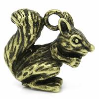 Lot de 2 Breloques écureuil en métal bronze antique  14x13mm