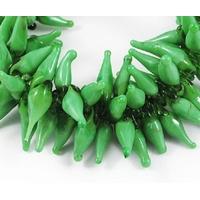 Lot de 10 Piments vert émeraude fabriqué au chalumeau, à la main