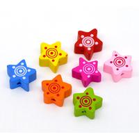Lot de 10 jolies perles en forme d'étoile en bois, 15x15mm, multicolores