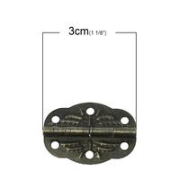 Lot de 2 charnières de porte bronze 30x12mm