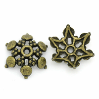 Lot de 10 Coupelles en Alliage de Zinc Forme Fleur Bronze antique 12.0mm x 11.0mm
