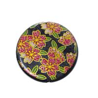 Lot de 2  Perles Acrylique Forme Rond Multicolore Fleurs Diamètre: 27mm, Tailles de Trous: 2.7mm