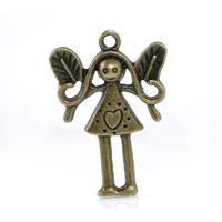 Lot de 2 grandes fées fille en métal couleur bronze 33x23mm