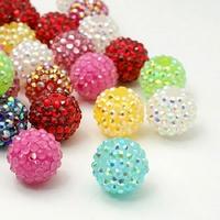 Lot de 4 Perles de résine  rondes en strass de style shamballa   14mm de diamètre