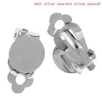 Lot de 2 supports boucles d'oreilles clips ronde métal argenté