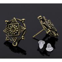 Lot de 2 clous  d'oreilles  ciselé bronze 18x15mm -1 paire