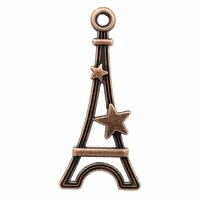 Lot de 10 Breloques Tour Eiffel et étoile en métal couleur cuivre 29mm