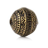 Lot de 10 perles 12 mm Forme Ovale noir et Or Mat Rayées en acrylique