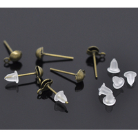 Lot de 50 clous d'oreilles bronze 14x7mm