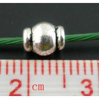Lot de 10 Perles métal Forme Tambour Argent Antique vieilli
