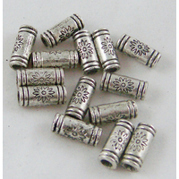 Lot de 14 Perles tubes en métal argenté 3x10mm