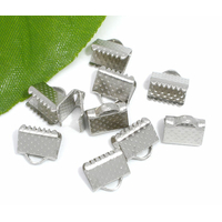 Lot de 30 Attaches Embouts Griffes Rubans 8x6mm métal argent mat