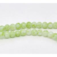 Lot de 50 perles en verre 4mm vert pale marbré blanc enfilade de 80cm