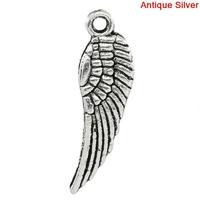 Lot de 10 Breloques ailes ange 17x5mm en métal argenté