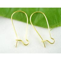 Lot de 12 crochets Supports Boucles d'oreilles dormeuse 24x11mm  métal doré