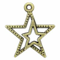 Lot de 6 breloques étoiles imbriquées différentes tailles en métal bronze 23x20mm