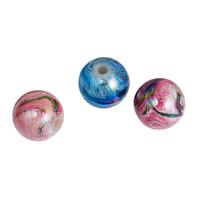 Lot de 10 perles 12mm en acrylique shamballa motif psychédélique