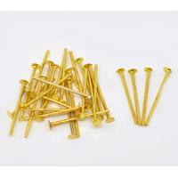 Lot de 100 tiges à tête plate 18mm métal doré