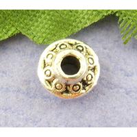 Lot de 20 Perles soucoupe en métal argenté 4x6mm