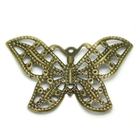 Lot de 16 connecteurs papillon filigrane bronze 3.1x2.2cm