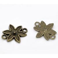 Lot de 5 connecteurs Motif Fleur métal bronze 29x22mm