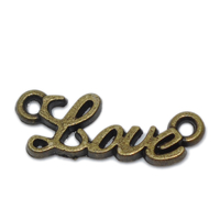 Lot de 10 connecteurs motif LOVE métal bronze 8x20mm