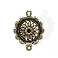 Lot de 4 connecteurs motif Fleur Couleur bronze 29x22mm