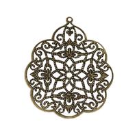 Lot de 5 estampes Fleur Filigrané Couleur bronze 58x48mm