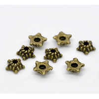 Lot de 50 Coupelles  fleur Bronze Antique 5mmx5mm