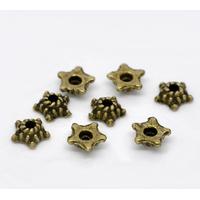 Lot de 50 Coupelles  fleur Bronze Antique 5mmx5mm