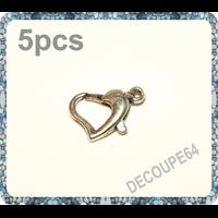 Lot de 5 fermoirs mousquetons coeur métal argenté 12mm