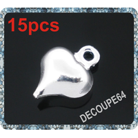 Lot de 15 Pendentifs breloques petit coeur 8x6mm