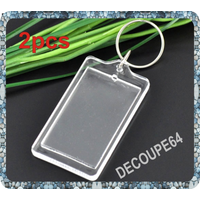 Lot de 2 porte-clefs porte photo 66x36mm