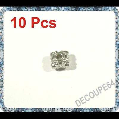 Perles carrées métal argenté 6.5x4mm Lot de 10