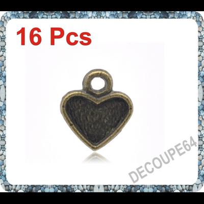 Lot de 16 Breloques coeurs métal couleur bronze 11x10mm