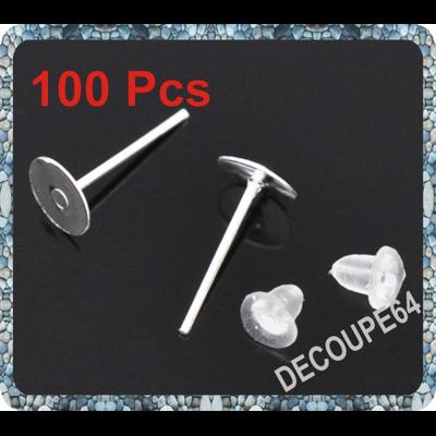Lot de 100 Clous Plateaux 6mm fimo supports  Boucles d'oreilles + Embout