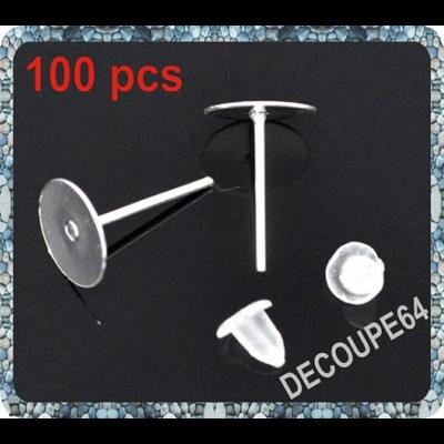 Lot de 100 Clous Plateaux 8mm fimo supports  Boucles d'oreilles + Embout