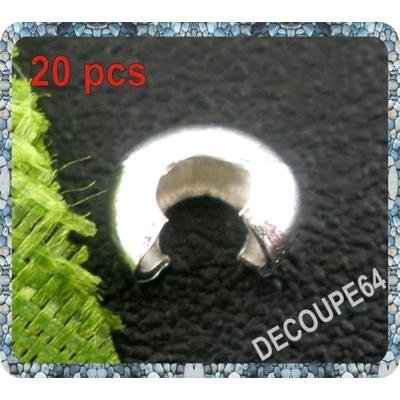 Cache de 4mm pour perle à écraser métal argenté Lot de 20