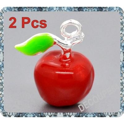 1 Pendentif pomme rouge 3d en métal argenté 19x15mm