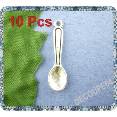 Lot de 10 Breloque cuillère en métal argenté 24x6mm