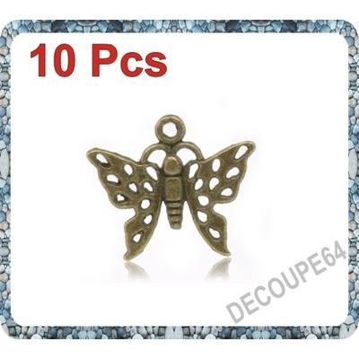 Lot de 10 Breloques papillon en métal couleur bronze 20x18mm